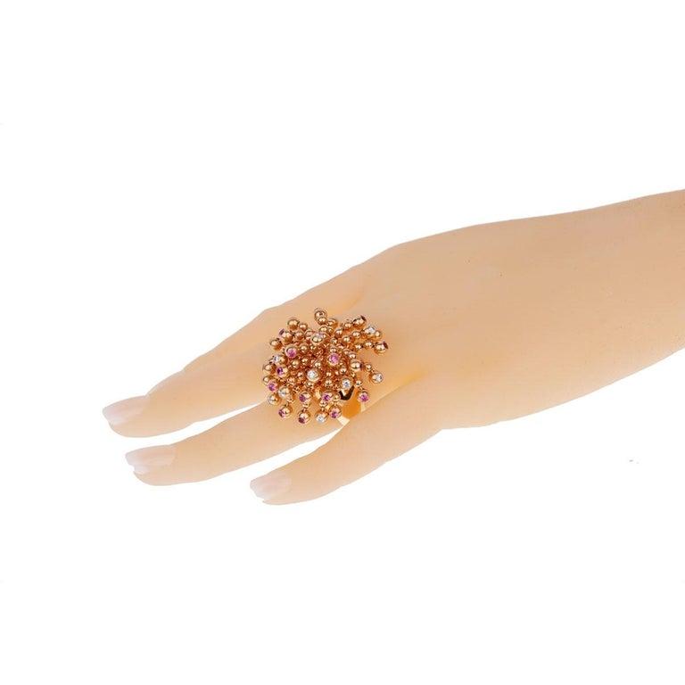 Cartier Paris Nouvelle Vague Pink Sapphire Diamond Rose Gold Ring For Sale 2