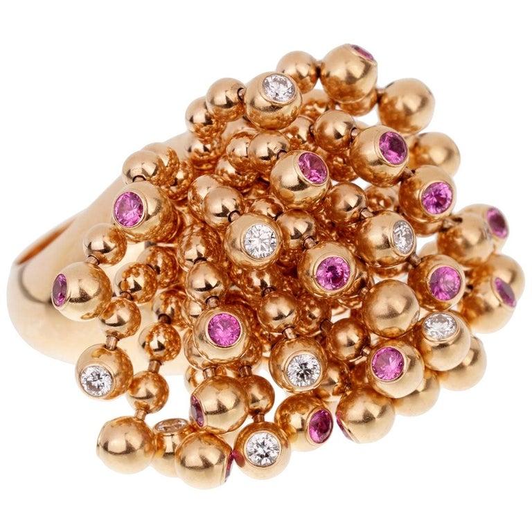 Cartier Paris Nouvelle Vague Pink Sapphire Diamond Rose Gold Ring For Sale
