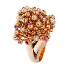 Cartier Paris Nouvelle Vague Pink Sapphire Diamond Rose Gold Ring