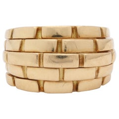 Cartier Paris Panther Link Design Bombe Gold Ring