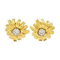 Cartier Paris Pave Diamond 18 Karat Yellow Gold Retro Flower Earrings