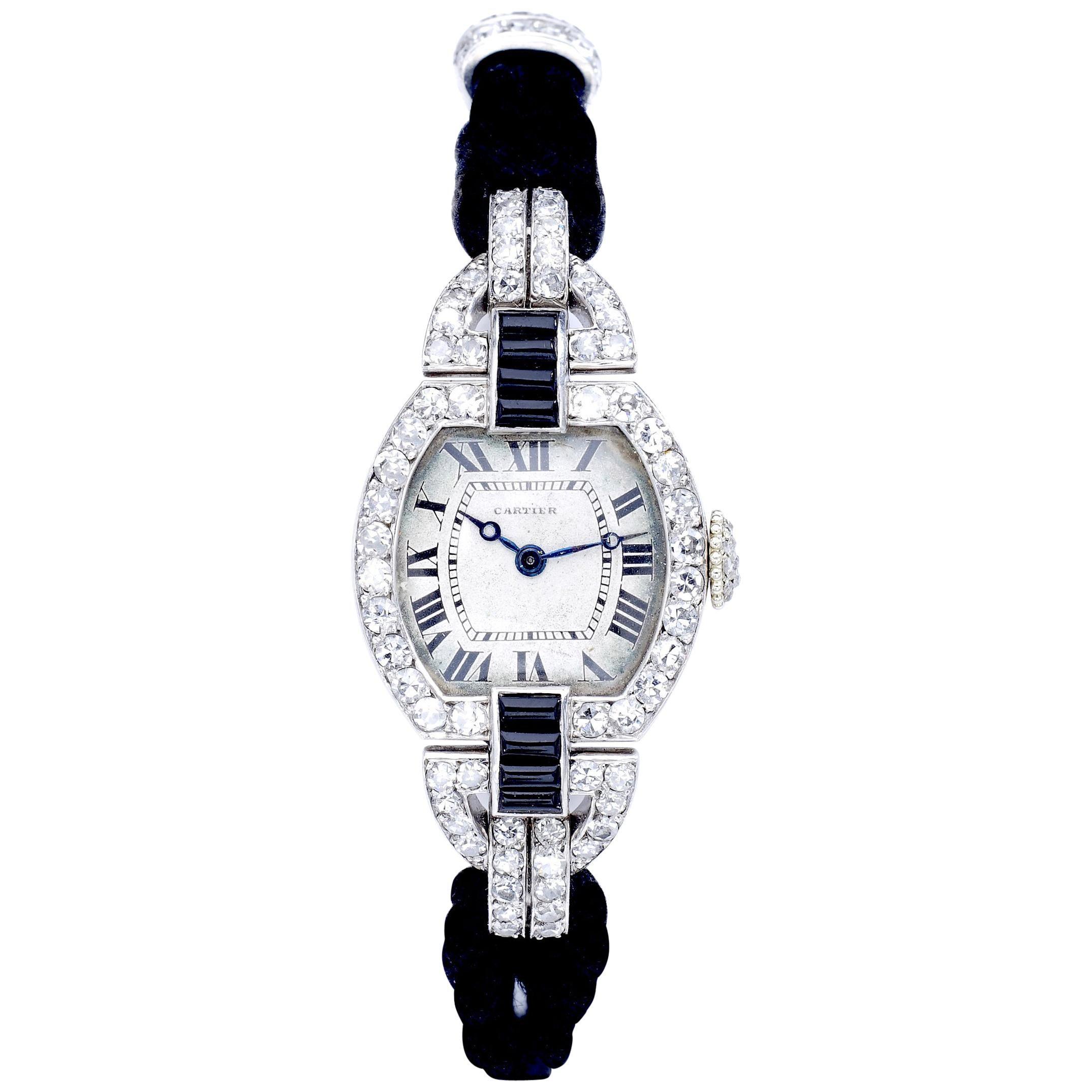 Cartier Paris Platinum Diamond Onyx Art Deco Wristwatch, 1920s