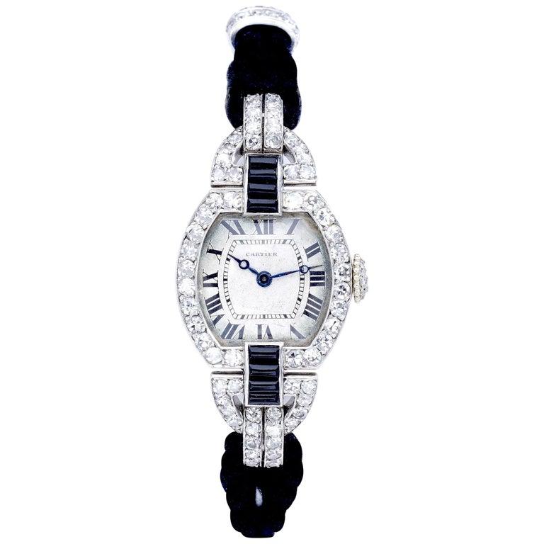 Cartier Paris Platinum Diamond Onyx Art Deco Wristwatch, 1920s For Sale