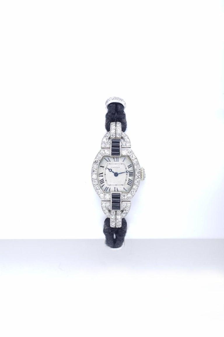 Women's Cartier Paris Platinum Yellow Gold Diamond Onyx Art Deco Wristwatch, 1920s  For Sale