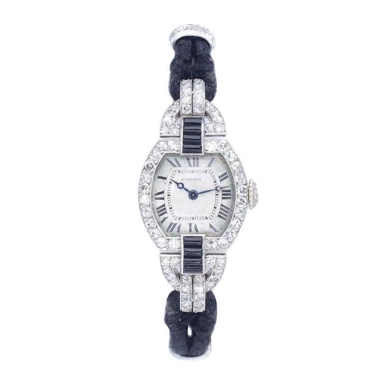 Cartier Paris Platinum Yellow Gold Diamond Onyx Art Deco Wristwatch, 1920s  For Sale