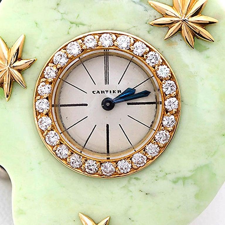 Women's Cartier Paris Rare Art Deco Jade Pocket Watch Pendant by Edmond Jaeger For Sale