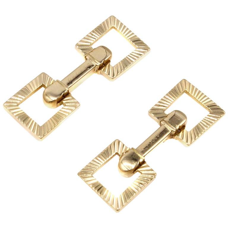Cartier Paris Retro 18 Karat Gold Cuff Links For Sale