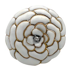 Cartier Paris 18 Karat Gold Retro Flower White Camelia Diamond Enamel Dress Clip