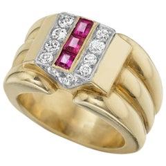 Cartier Paris Retro Diamond Ruby and Gold Ring