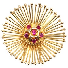Cartier Paris Retro Ruby 18 Karat Gold Starburst Brooch