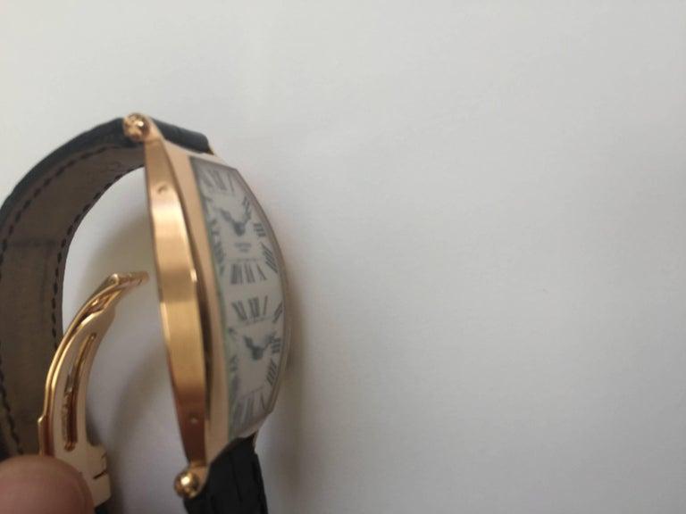 Cartier Paris Rose Gold Tonneau Cintree Dual Time Mechanical Wristwatch For Sale 1