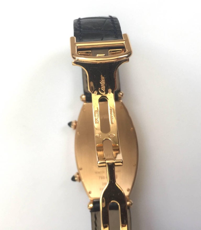 Cartier Paris Rose Gold Tonneau Cintree Dual Time Mechanical Wristwatch For Sale 2