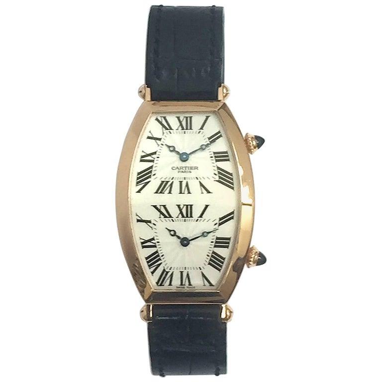 Cartier Paris Rose Gold Tonneau Cintree Dual Time Mechanical Wristwatch For Sale