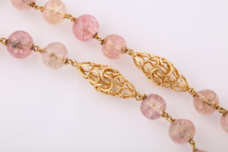 Cartier Paris Rose Quartz Yellow Gold Handmade Necklace In Good Condition For Sale In New York, NY