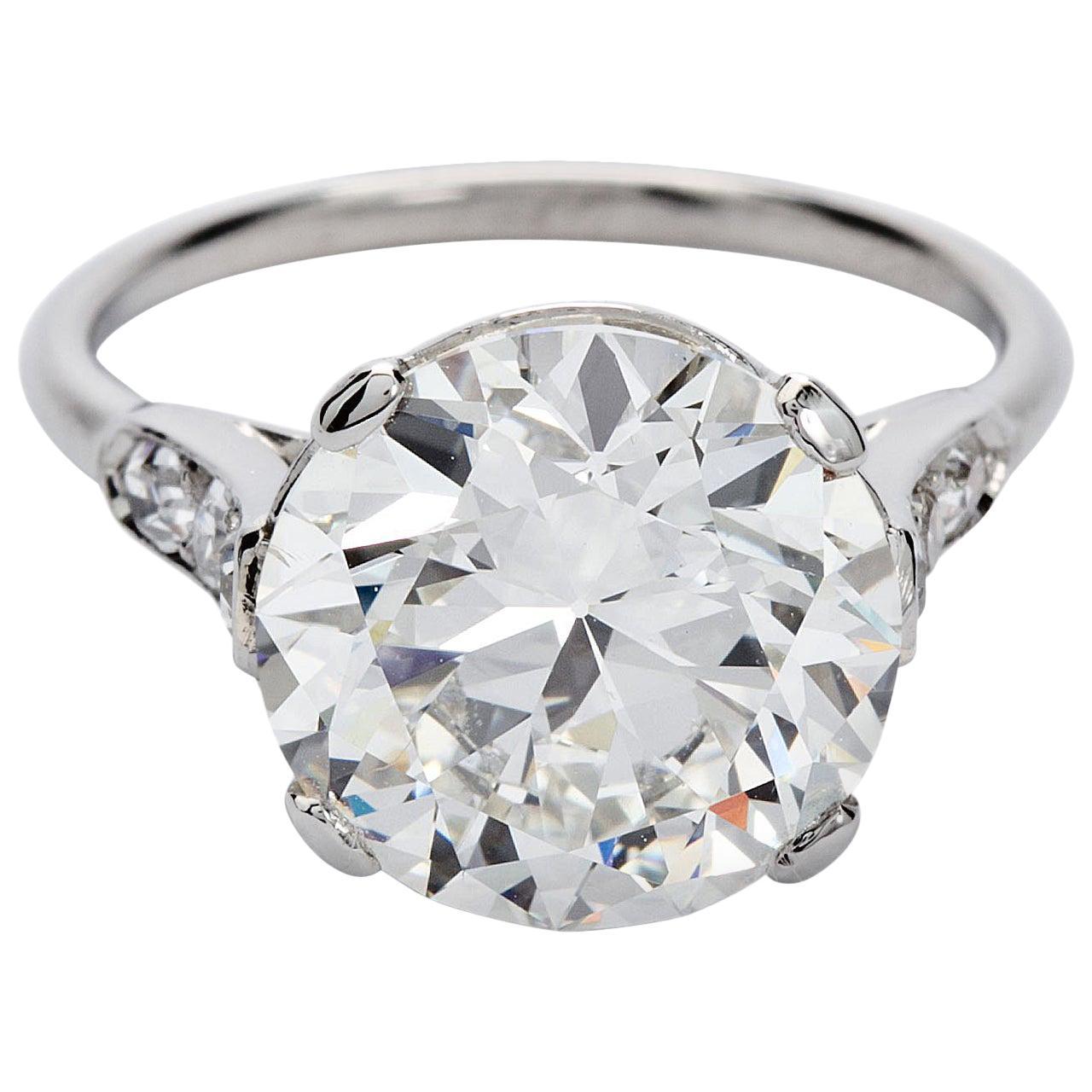Cartier Paris Round Brilliant Diamond Engagement Ring 4.41 Carat White Gold GIA
