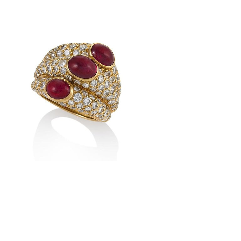 Cartier Paris Ruby and Diamond Ring In Excellent Condition For Sale In New York, NY