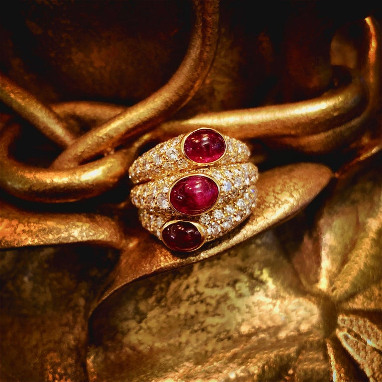 Women's Cartier Paris Ruby and Diamond Ring For Sale