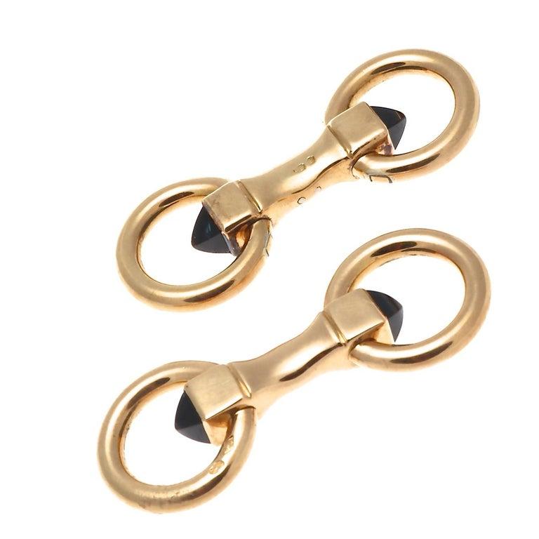 Contemporary Cartier Paris Sapphire 18 Karat Gold Cufflinks