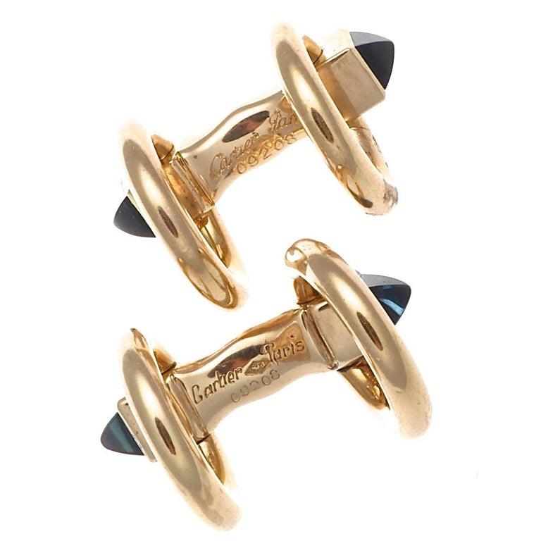 Cartier Paris Sapphire 18 Karat Gold Cufflinks In Excellent Condition In Beverly Hills, CA