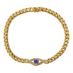 Cartier Paris Sapphire Diamond Gold Curb Link Necklace
