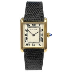 Cartier Paris Scarce Yellow Gold Classic Tank Automatic Wristwatch