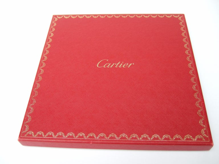 Cartier Paris Silk Panther Hand Rolled Scarf in Cartier Box c 1990s 32 x 34  For Sale 9