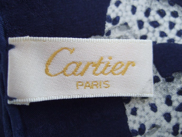 Cartier Paris Silk Panther Hand Rolled Scarf in Cartier Box c 1990s 32 x 34  For Sale 12