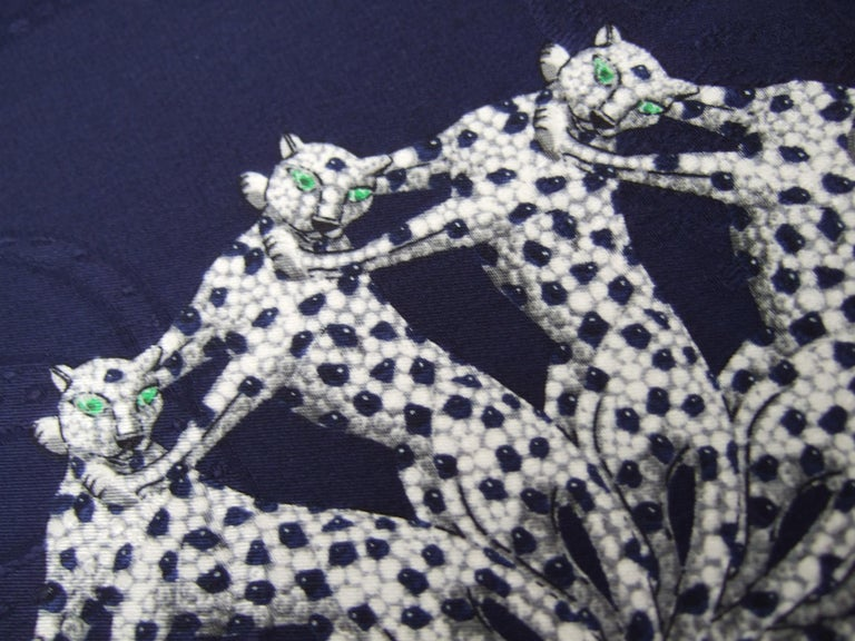 Cartier Paris Silk Panther Hand Rolled Scarf in Cartier Box c 1990s 32 x 34  For Sale 3