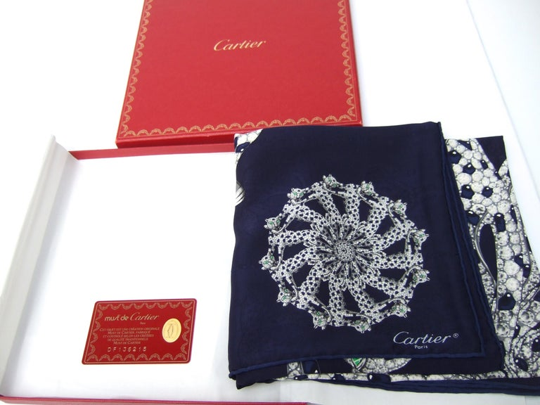 Cartier Paris Silk Panther Hand Rolled Scarf in Cartier Box c 1990s 32 x 34  For Sale 4