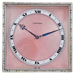 Cartier Paris Sterling Silver and Enamel Clock