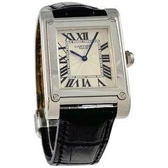 Cartier Paris Tank A Vis Platinum Prive Manual Wind Watch