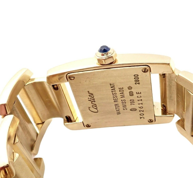 Cartier Paris Tankissime Ladies Quartz Yellow Gold Watch Ref 2800 In Excellent Condition For Sale In Holland, PA
