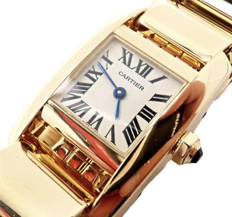 Women's or Men's Cartier Paris Tankissime Ladies Quartz Yellow Gold Watch Ref 2800 For Sale