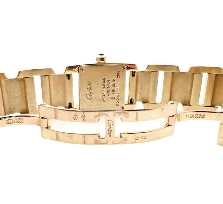 Cartier Paris Tankissime Ladies Quartz Yellow Gold Watch Ref 2800 For Sale 3
