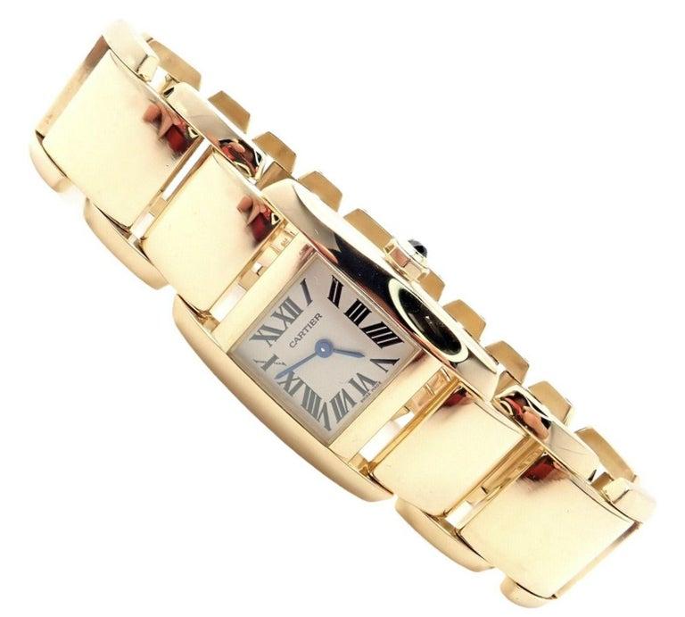 Cartier Paris Tankissime Ladies Quartz Yellow Gold Watch Ref 2800 For Sale 4