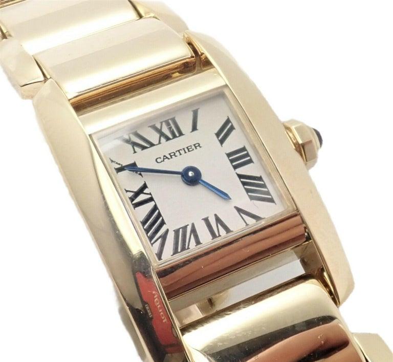 Cartier Paris Tankissime Ladies Quartz Yellow Gold Watch Ref 2800 For Sale 5
