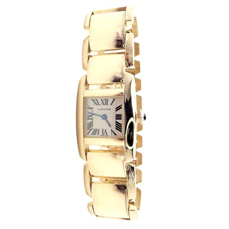 Cartier Paris Tankissime Ladies Quartz Yellow Gold Watch Ref 2800 For Sale