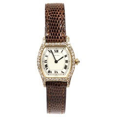 Cartier Paris Tortue Yellow Gold and Diamond Ladies Manual Wind Wristwatch