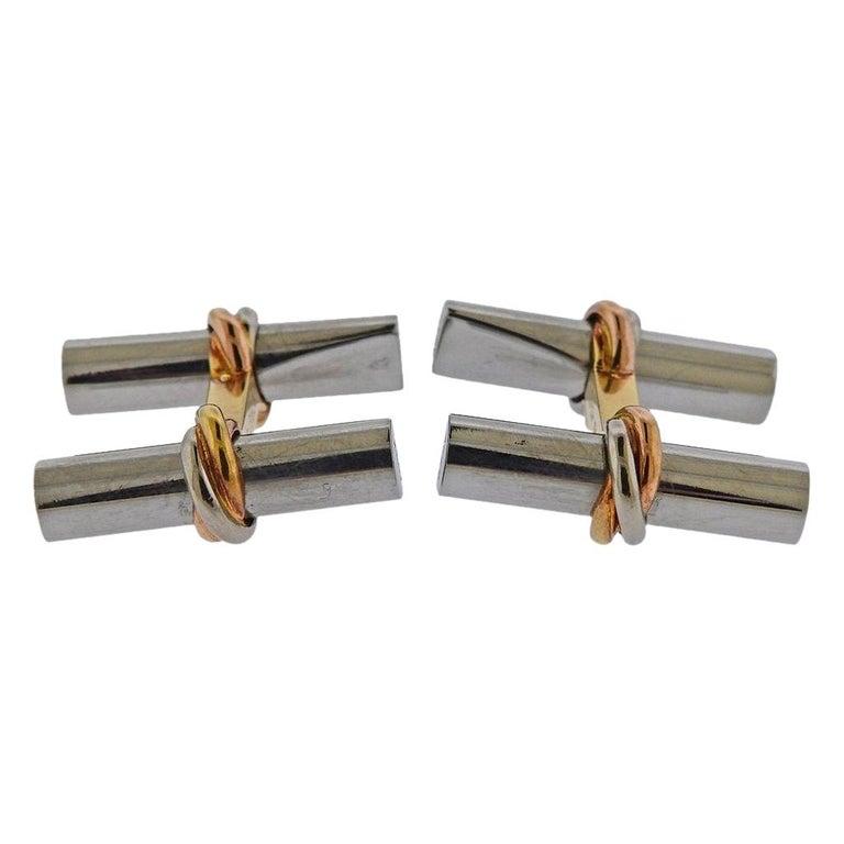 Cartier Paris Trinity Gold Steel Bar Cufflinks For Sale