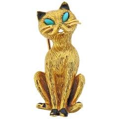 Cartier Paris Turquoise Enamel Gold Cat Brooch Pin