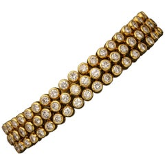 Cartier Paris, Ultra Flexible 18 Carat Gold Diamond Bracelet, circa 1970s