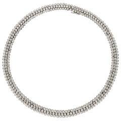 Cartier, Paris, Ultra Flexible Platinum Diamond Necklace, circa 1970s-1980s
