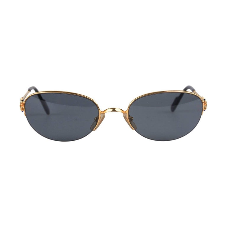 2a922c90373a CARTIER Paris Vintage Semi Rimless Gold Sunglasses CABOCHON 54-20mm For Sale
