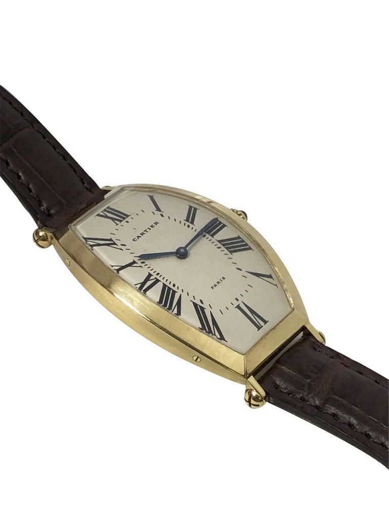 Art Deco Cartier Paris Vintage Tonneau Yellow Gold Mechanical Wristwatch