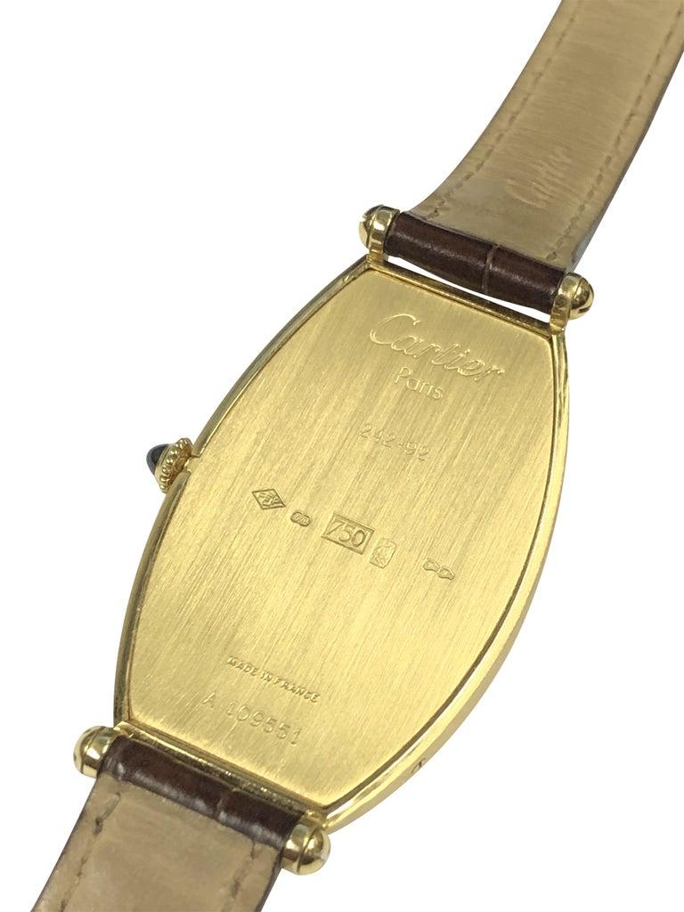Cartier Paris Vintage Tonneau Yellow Gold Mechanical Wristwatch In Excellent Condition In Chicago, IL