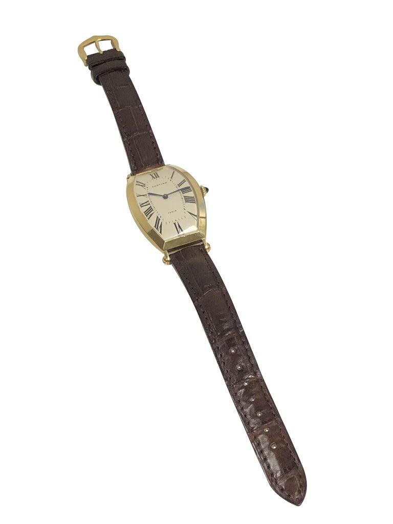 Cartier Paris Vintage Tonneau Yellow Gold Mechanical Wristwatch 1