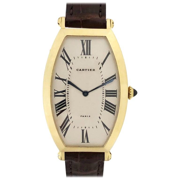 Cartier Paris Vintage Tonneau Yellow Gold Mechanical Wristwatch