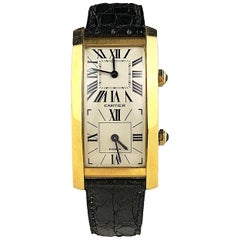 Cartier Paris Yellow Gold Cintree Tank Dual Time Mechanical Wristwatch