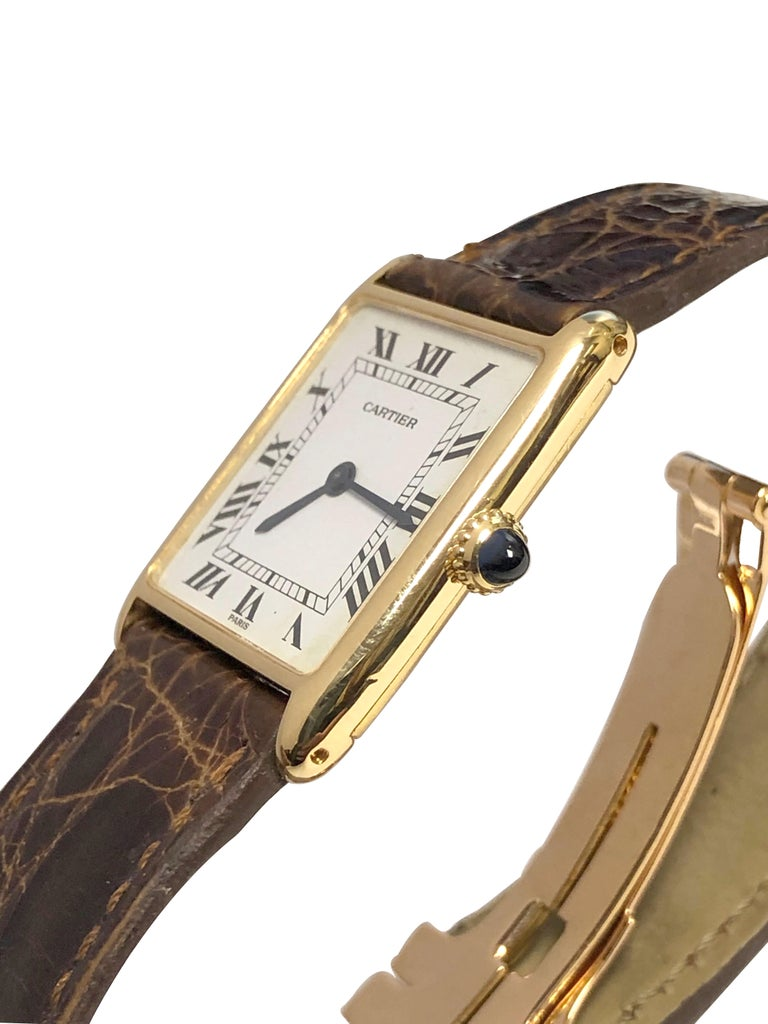 Cartier Paris Yellow Gold Mechanical Classic 1970s Tank Wristwatch In Good Condition For Sale In Chicago, IL