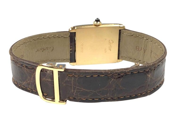 Women's or Men's Cartier Paris Yellow Gold Mechanical Classic 1970s Tank Wristwatch For Sale